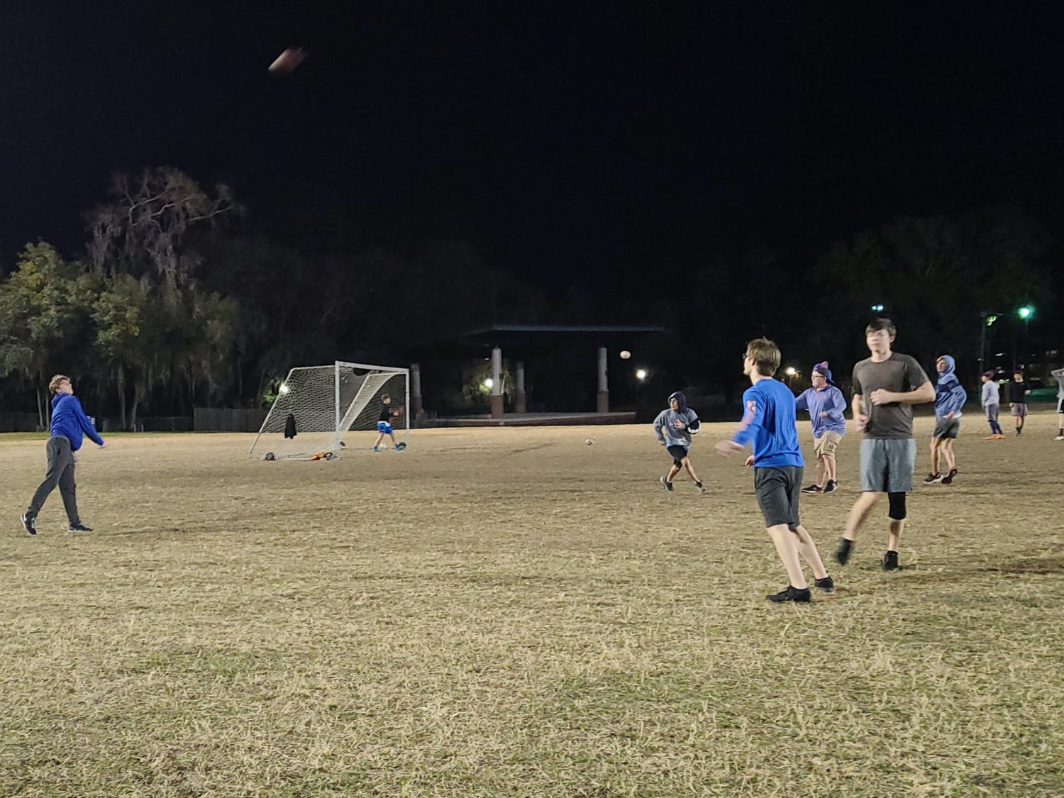 Freshman Campbell Harmon throws a shot during a quick Sunday-night pickup football game.