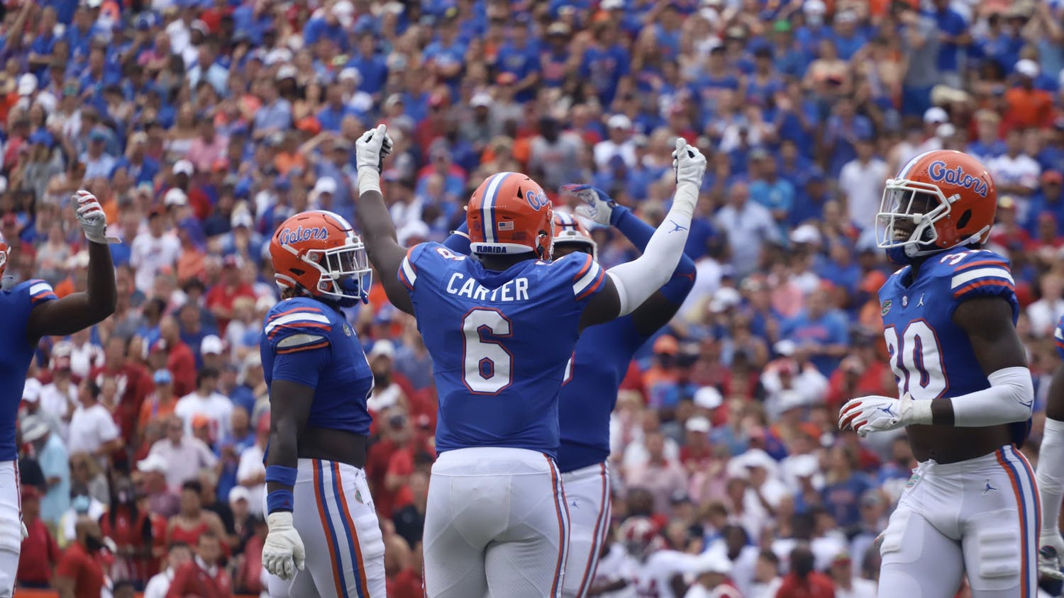 Florida defensive lineman Zachary Carter hypes up the crowd during Florida's 31-29 loss to No. 1 Alabama on Sept. 18.
