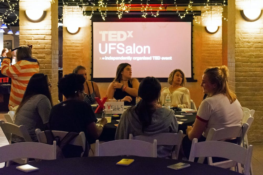"""<div>UF students and Gainesville community members gather Tuesday evening to discuss inclusivity at TEDxUF's first salon of the semester, titled """"Who Tells the Story"""".</div>"""