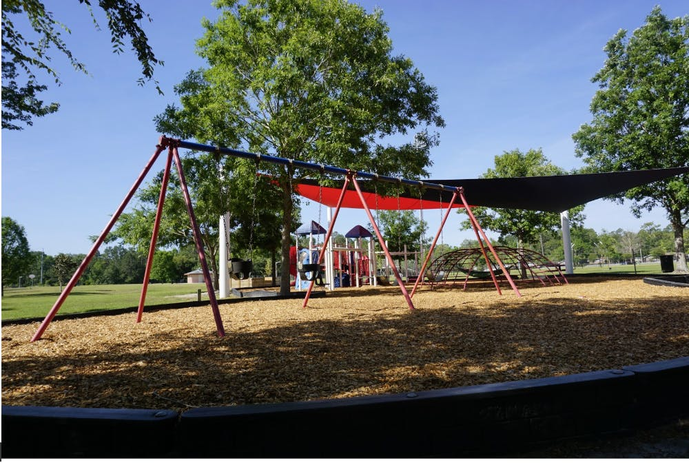 "<p dir=""ltr"">Fred Cone Park's main playground had a shade sail installed in early 2018.</p>"