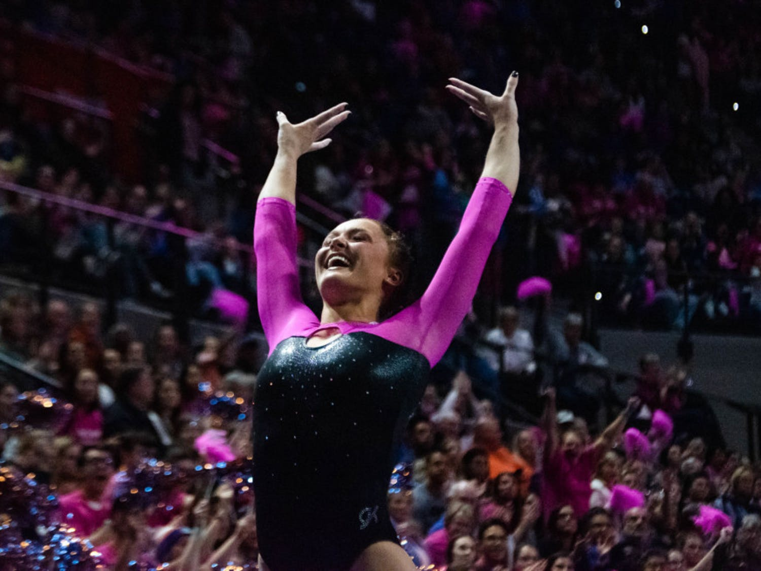 Savannah Schoenherr sticks the landing during her floor routine against Alabama on Feb. 21, 2020. The junior scored a 9.825 on the vault and on bars in Florida's victory Friday night.