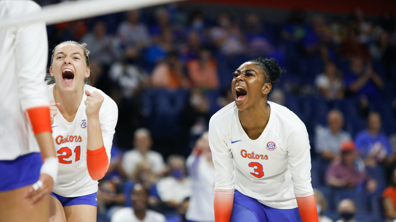 Florida's T'ara Ceasar and Marlie Monserez celebrate a point in Florida's game against Mississippi State on Sept. 24.