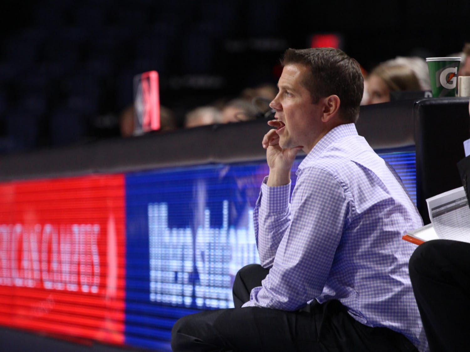 """After losing his eighth conference game of the season, UF coach Cameron Newbauer remained positive about his team's effort.""""I could not be more proud of this group and their fight tonight on the road against a top-15 team,"""" he said."""