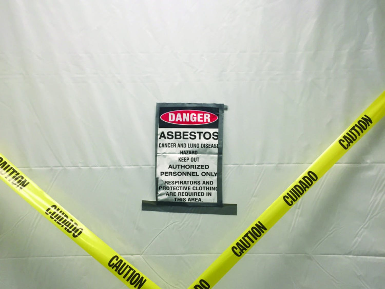 Signs in the Reitz Union warn of asbestos. Parts of the Lower Level of the Reitz Union are closed for renovations.