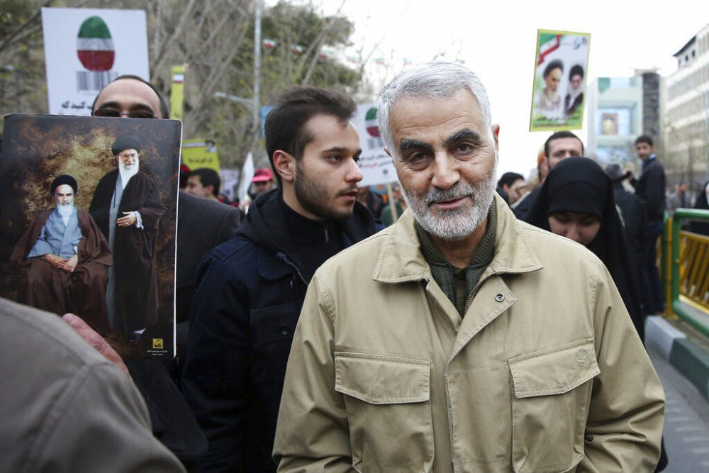 <p>FILE - In this Thursday, Feb. 11, 2016, file photo, Qassem Soleimani, commander of Iran's Quds Force, attends an annual rally commemorating the anniversary of the 1979 Islamic revolution, in Tehran, Iran. Iraqi TV and three Iraqi officials said Friday, Jan. 3, 2020, that Gen. Qassem Soleimani, the head of Iran's elite Quds Force, has been killed in an airstrike at Baghdad's international airport. (AP Photo/Ebrahim Noroozi, File)</p>