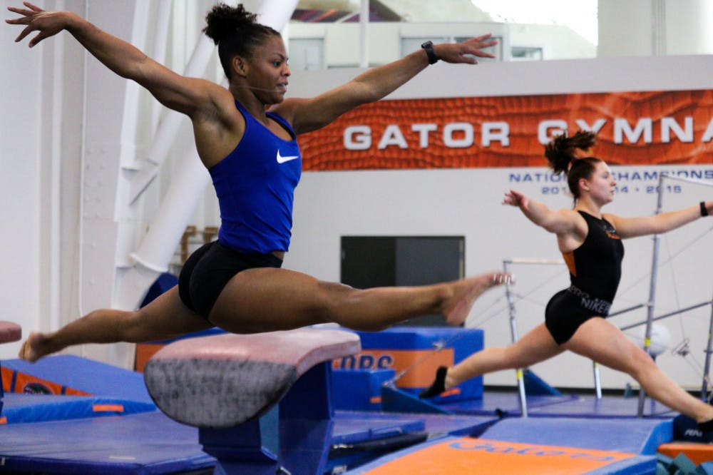 <p>Trinity Thomas scored a perfect 10 on her floor routine, leading Florida to a narrow victory over LSU Friday night</p>