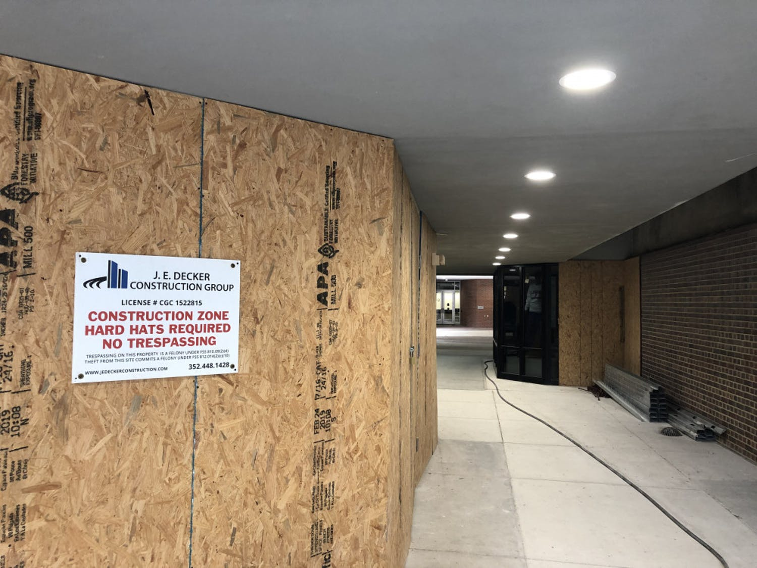 The Experiential Learning Hub (pictured here) and other parts of UF's Levin College of Law have been under renovation since late February. The projects are expected to reopen in early August.