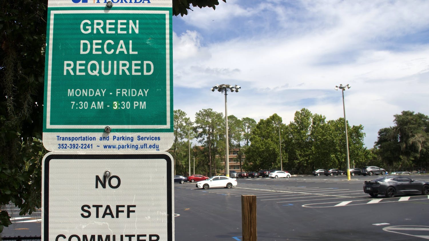 The parking lot next to Flavet Field at UF, shown on Thursday, Sept. 2, 2021, was changed to a green decal only location. This change affects the ability of students with Park and Ride decals to park on campus. (Photo by Kiara Cline)