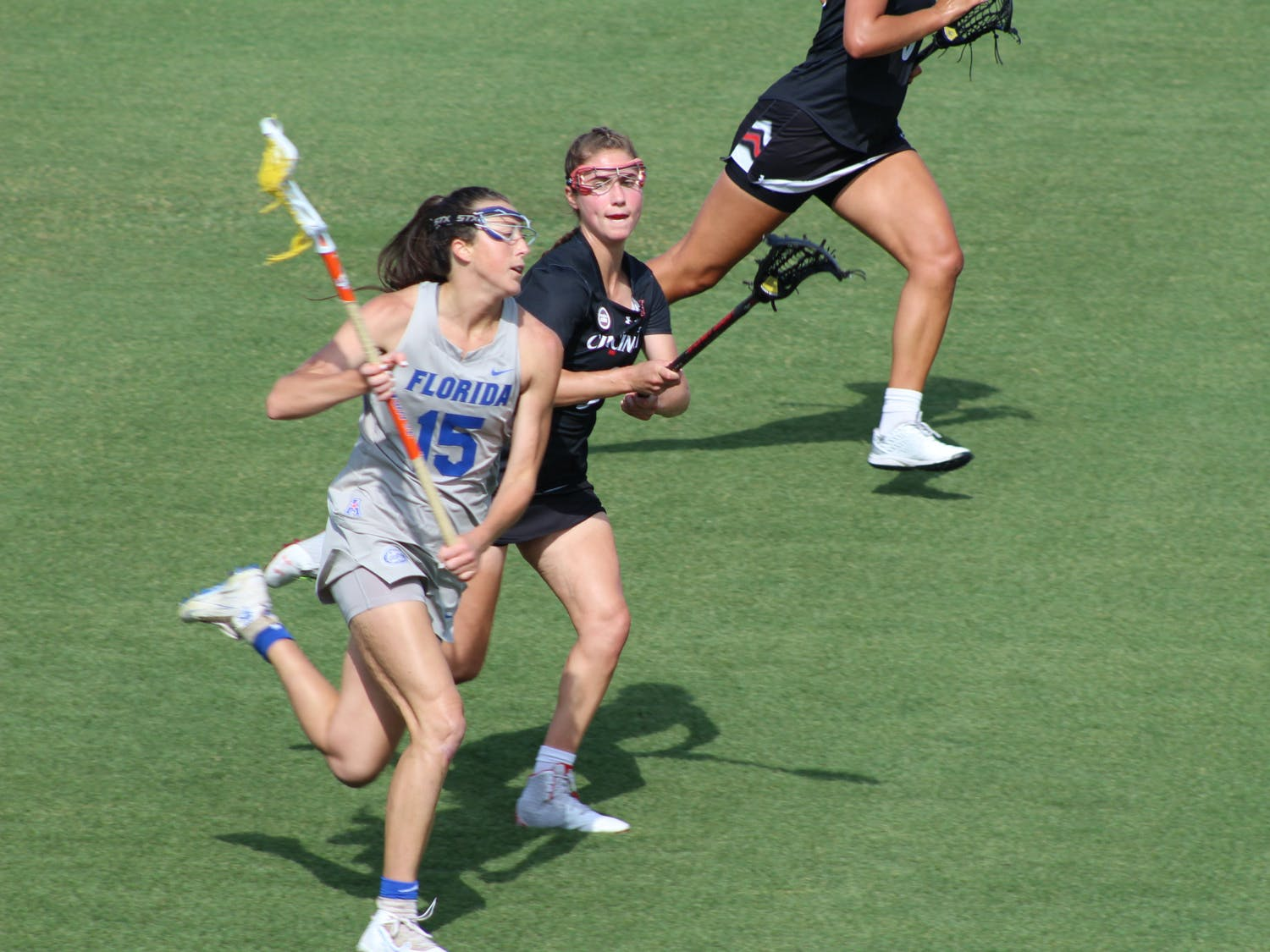 Senior Grace Haus runs down the field in Florida's win over Cincinnati on May 6. The Gators look to take home the AAC Championship Saturday against Temple.