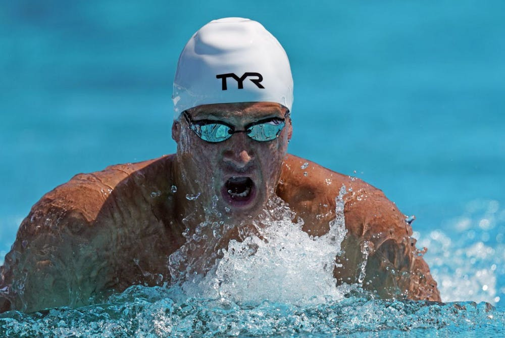 <p>Former Gator Ryan Lochte competes in a time trial at the U.S national swimming championships in Stanford, California, Wednesday, July 31, 2019. Lochte is one of five former UF swimmers that will compete at the U.S. Open this weekend.</p>