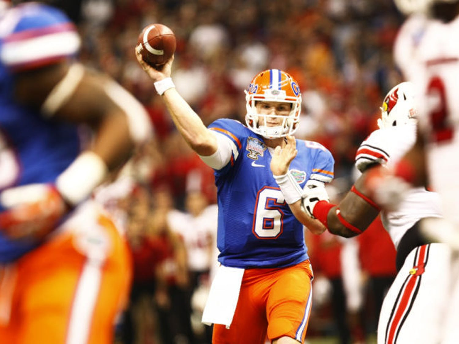 Quarterback Jeff Driskel attempts a pass during Florida's 33-23 loss to Louisville on Jan. 2 at the Superdome in New Orleans. This season will be Driskel's second as UF's starting signal-caller.