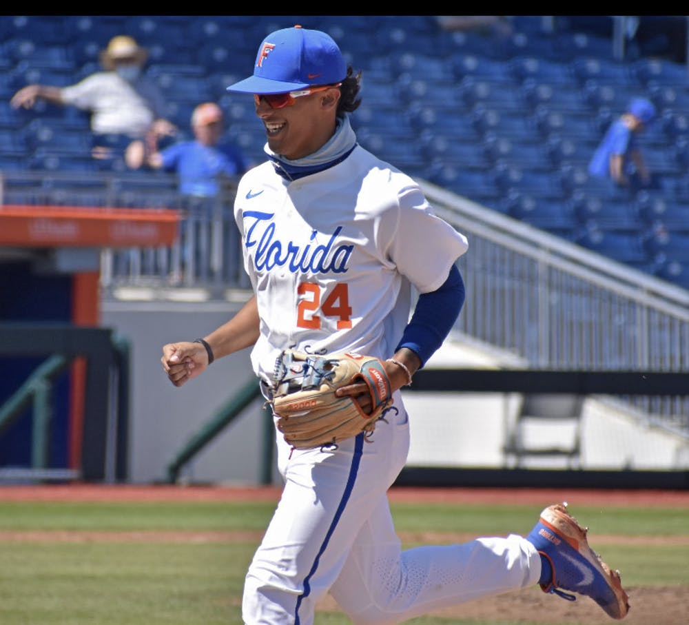 <p>Infielder Josh Rivera jogs off the diamond March 14 against Jacksonville</p>