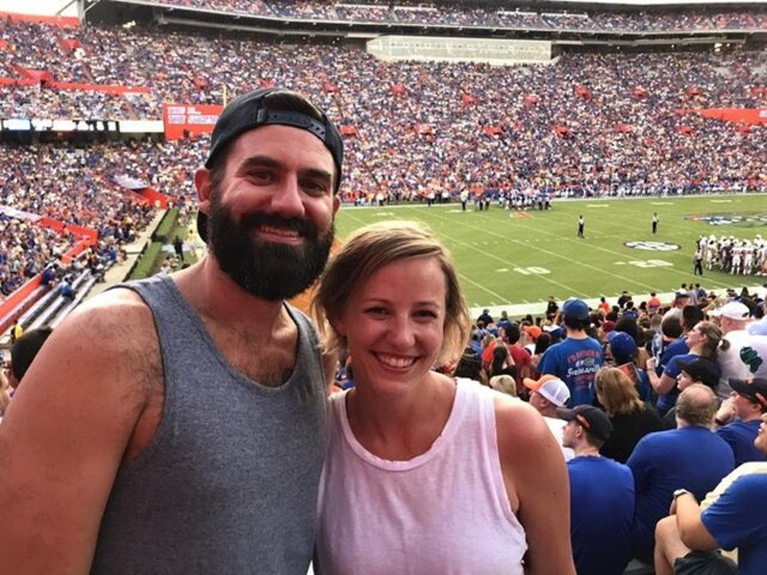 Matthew Baldwin and Stephanie Rüegg at the Gator football game against University of Tennessee-Martin on Sept. 7, 2019. This was Rüegg's first-ever American football game she attended.