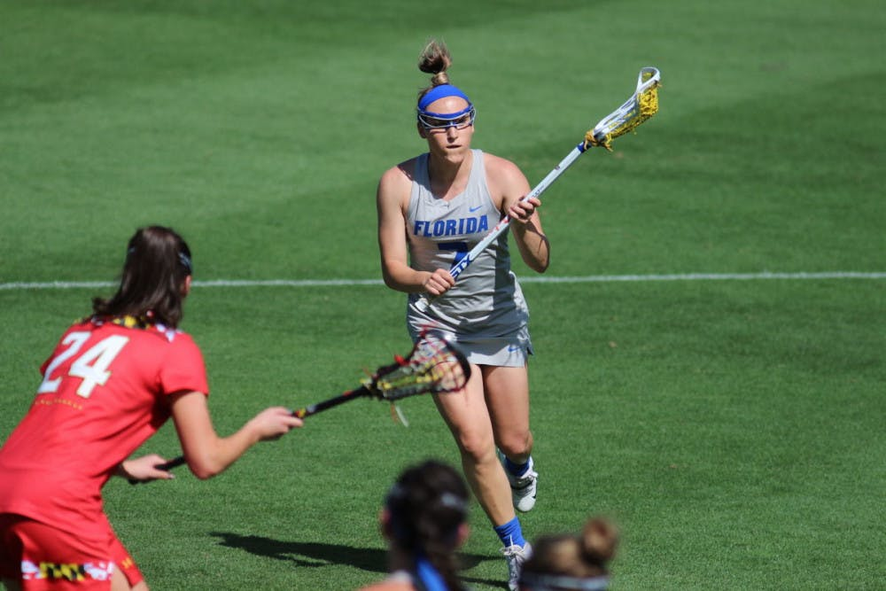 <p>Senior Shayna Pirreca and her sister, Sydney, led UF to victory over Colorado in the second round of the NCAA Tournament on Sunday with a combined seven goals.</p>