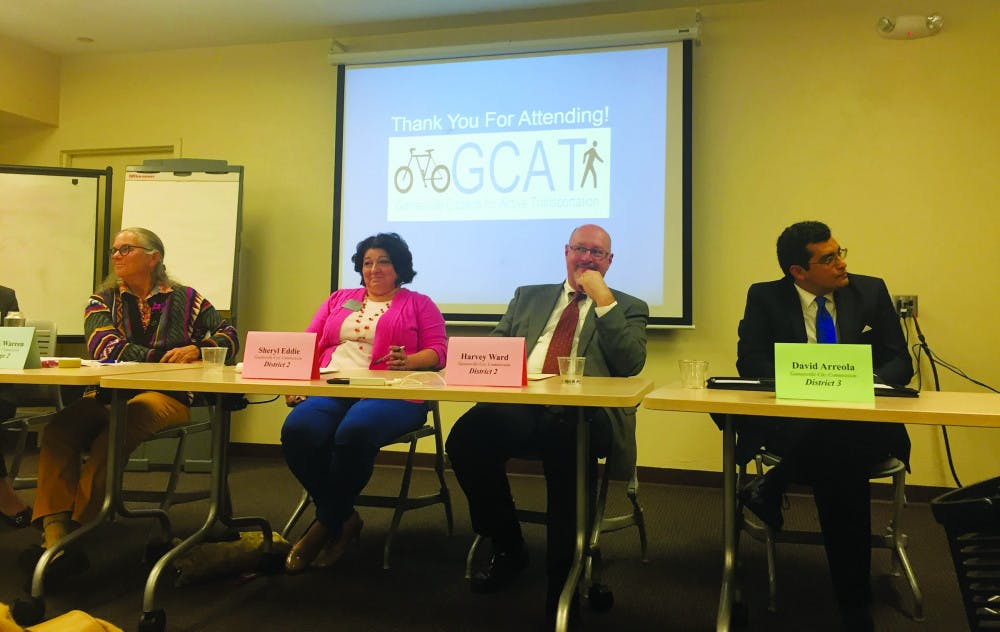 """<p><span id=""""docs-internal-guid-cb17b30f-f2c4-ca44-e0be-4fcbd0f401ec""""><span>At the third annual candidate forum on Monday, Alachua County City Commission candidates Sheryl Eddie, Helen Warren and Harvey Ward address Gainesville citizens about transportation in Gainesville.</span></span></p>"""