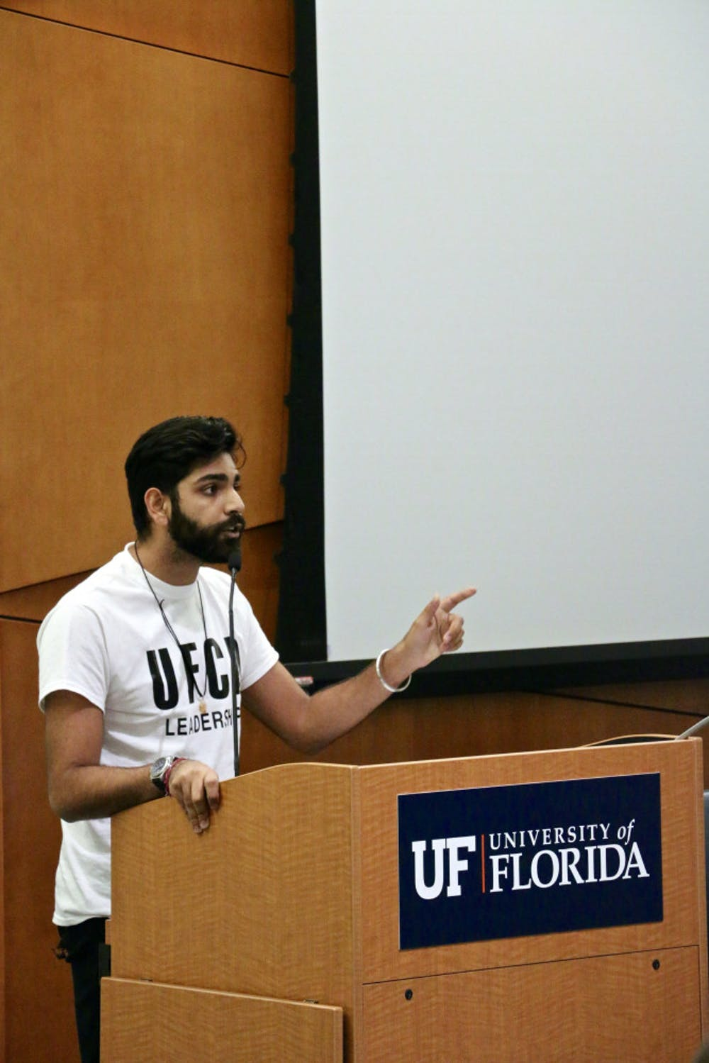 <p>Amol Jethwani, a 21-year-old UF political science junior, addresses the UF Student Government Senate in the Senate Chambers inside the Reitz Union. He's now running to represent the 21st District, which includes Alachua County.</p>