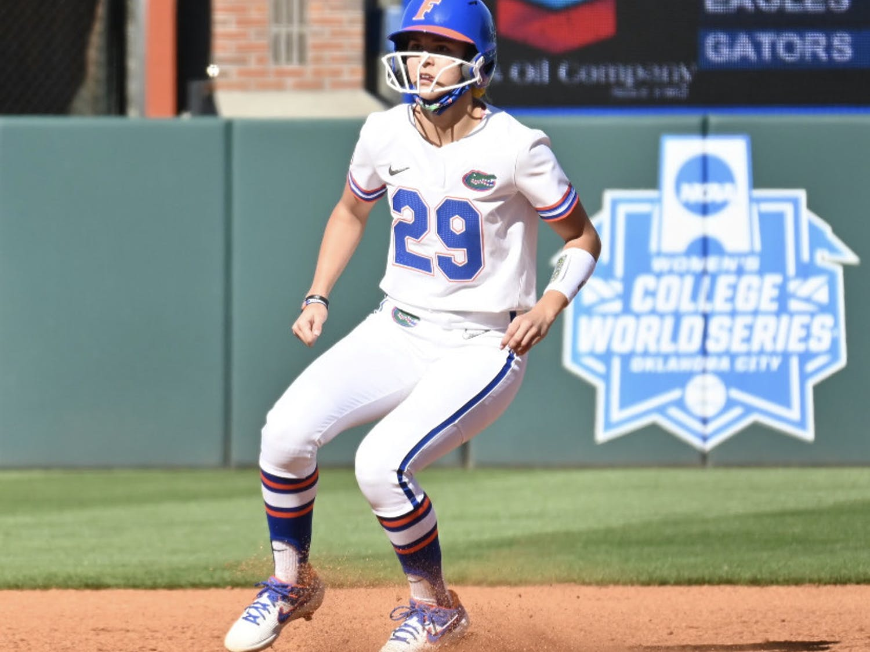 Freshman Katie Kistler rounds second base against Charlotte Feb. 20