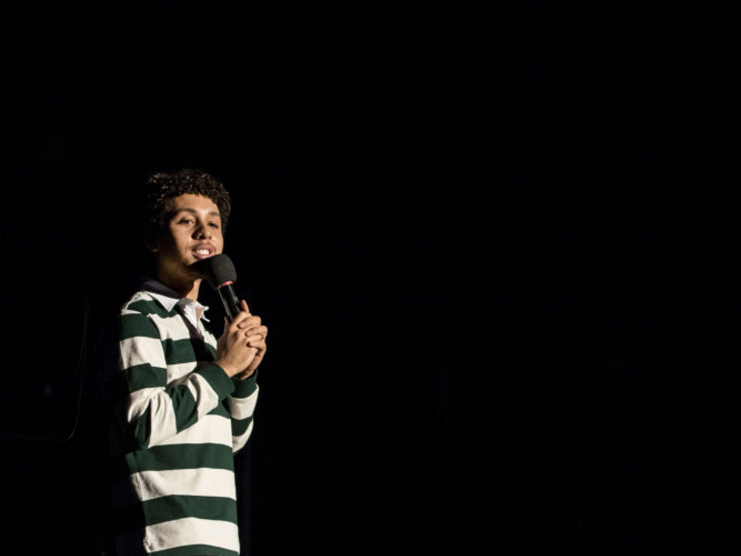 Comedian Jaboukie Young-White performs in the Reitz Union Grand Ballroom to an audience of about 450 students Monday night. He cracked jokes about getting into college, having his phone stolen and gay insects.
