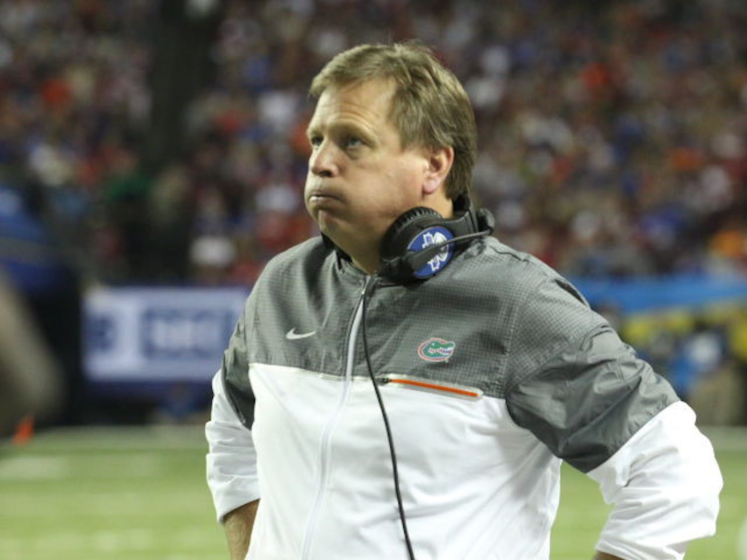 Jim McElwain looks on during Florida's 54-16 loss to Alabama in the SEC Championship Game on Dec. 3, 2016, in Atlanta.