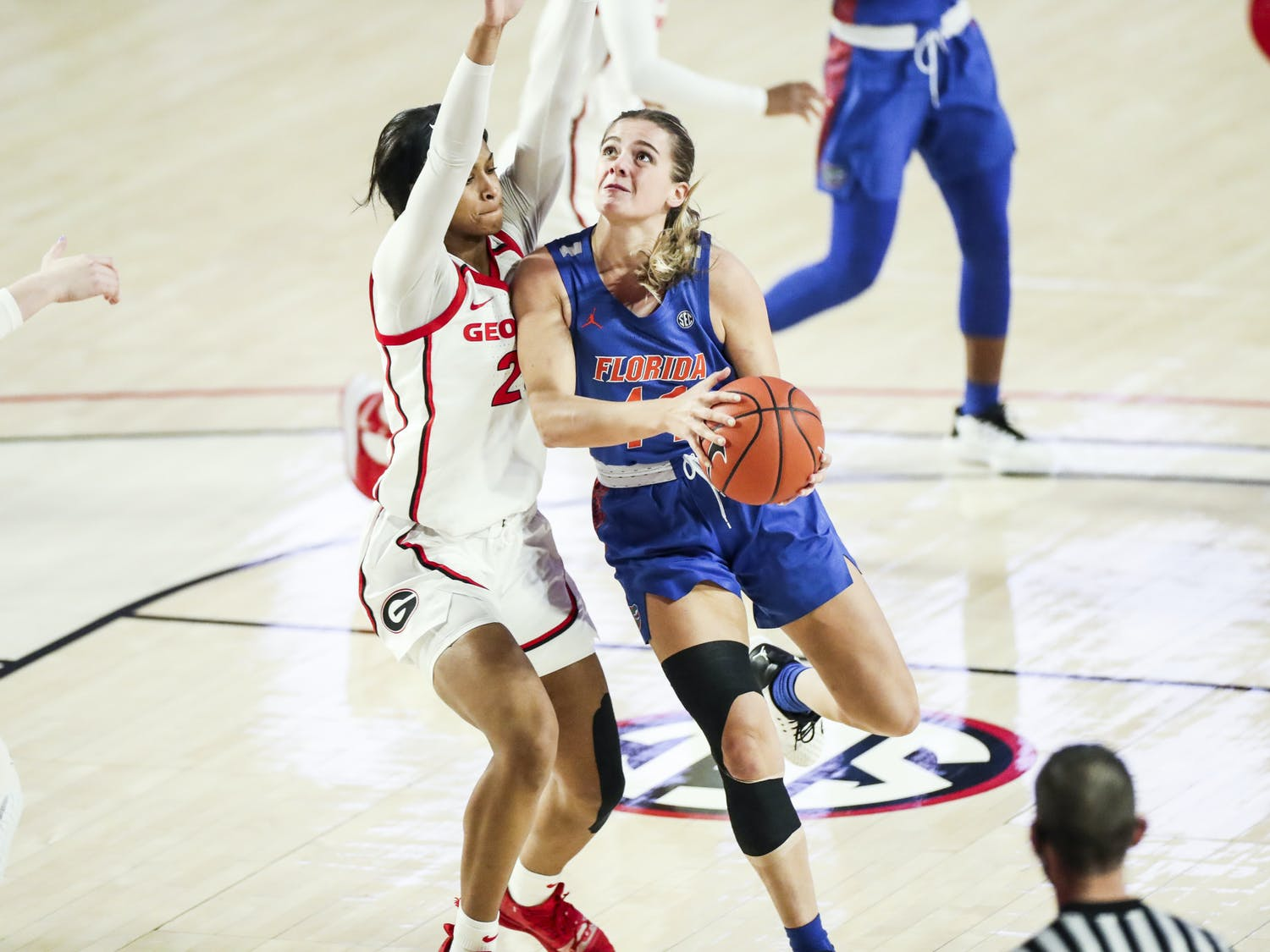 Gators guard Kristina Moore was energetic at Sunday's game against Georgia, making 11 points. Photo courtesy of the SEC Media Portal.