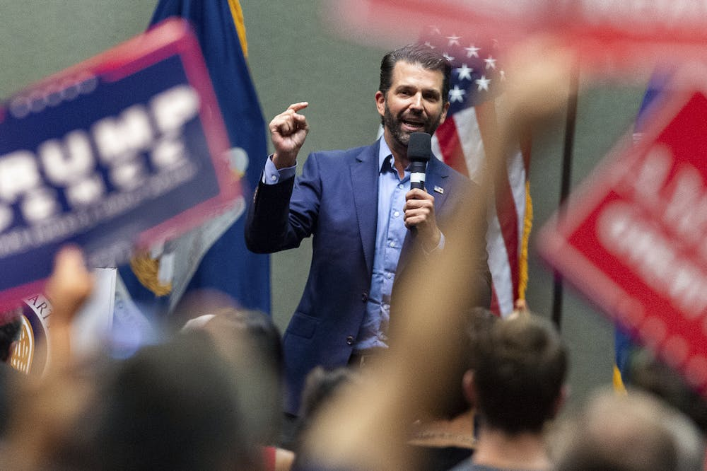 <p>Donald Trump Jr speaks at a Louisiana GOP rally in Lafayette, La,m for both Republican gubernatorial candidates. Monday, Oct. 7, 2019. (Scott Clause/The Daily Advertiser via AP)</p>