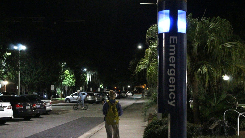 An emergency blue light is seen near Broward Dining Facility. on Tuesday, Sept. 28, 2021.