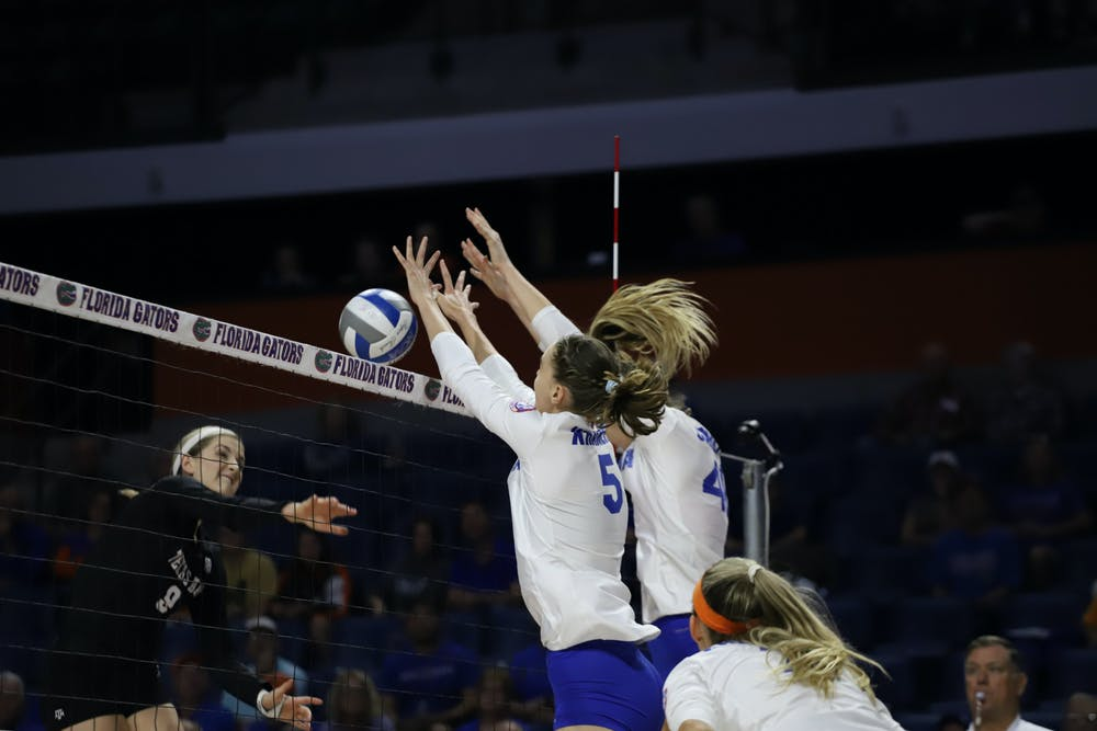 <p>The Gators fall in five sets to the undefeated Wisconsin Badgers Monday afternoon. Photo from UF-Texas A&amp;M game in 2019.</p>