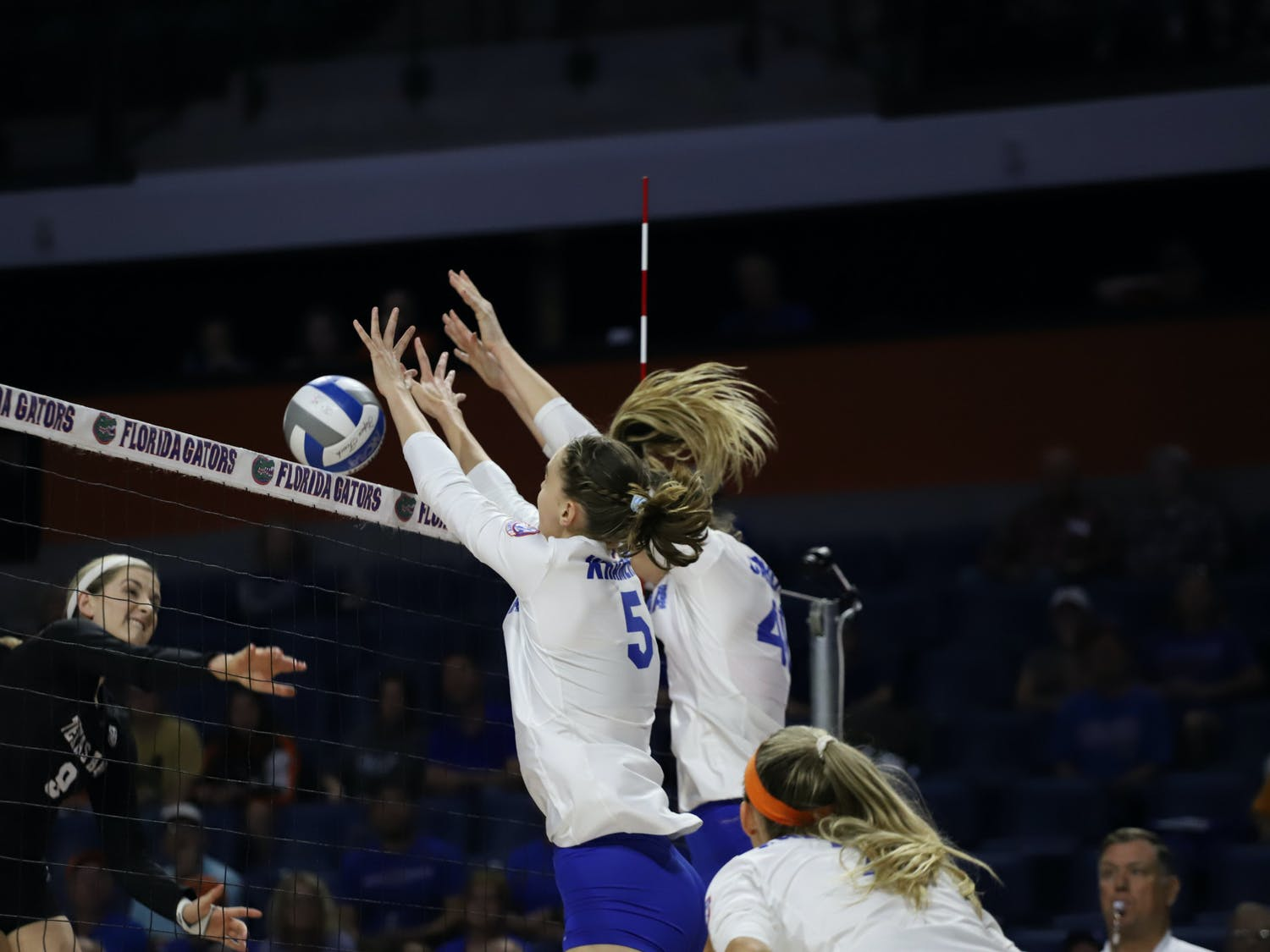 The Gators prepare for Morehead State in the second round of the NCAA Volleyball Tournament Thursday. Photo from UF-Texas A&M game in 2019.
