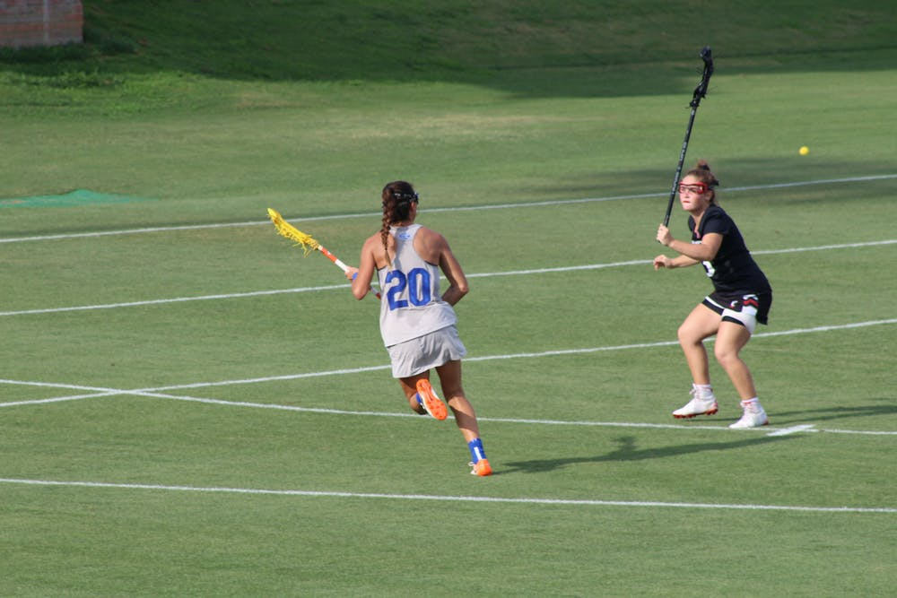 Florida's Brianna Harris (pictured, No. 20) makes a move on a Cincinnati defender during the AAC Championship on May 8. Harris scored six goals and added four assists in the title game.