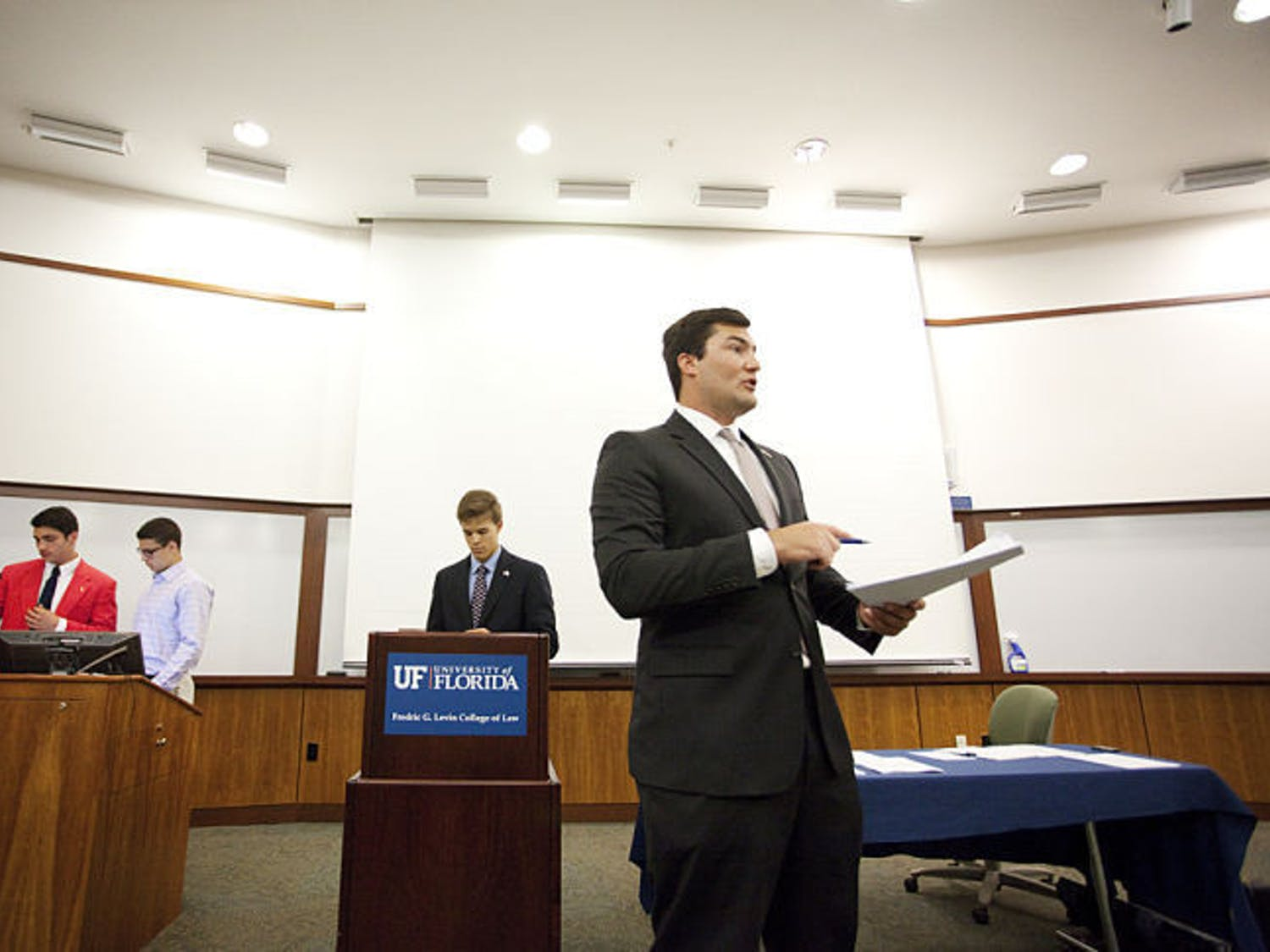Sen. Davis Bean, chair of the budget and allocations committee, presents the 2014-2015 budget at the Student Senate meeting Tuesday. The bill passed unanimously.