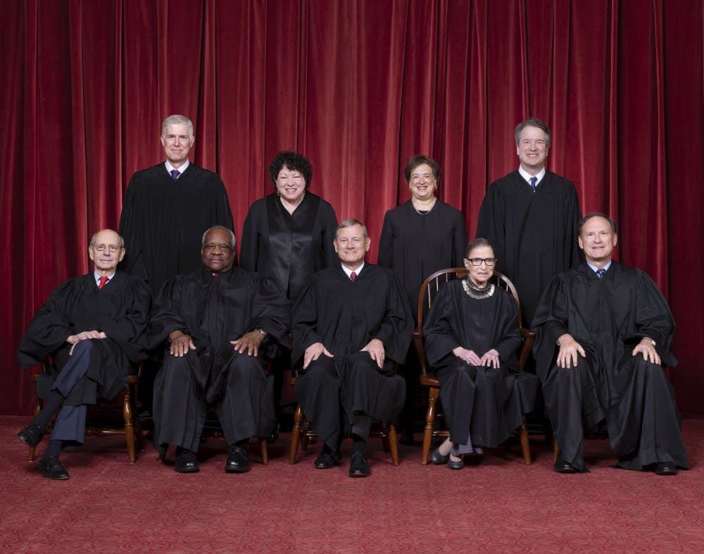 <p>The Roberts Court, November 30, 2018. Seated, from left to right: Justices Stephen G. Breyer and Clarence Thomas, Chief Justice John G. Roberts, Jr., and Justices Ruth Bader Ginsburg and Samuel A. Alito. Standing, from left to right: Justices Neil M. Gorsuch, Sonia Sotomayor, Elena Kagan, and Brett M. Kavanaugh. Photograph by Fred Schilling, Supreme Court Curator's Office.</p>