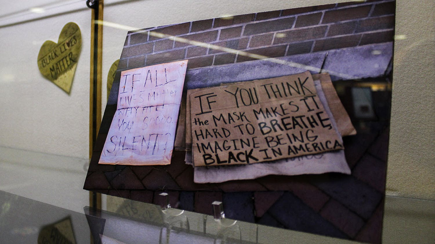 "The ""All Black Lives Matter: Documenting Community Response to Racial Injustice"" exhibit sits in Library West on Monday, Jan. 11, 2021. It will be open until March."