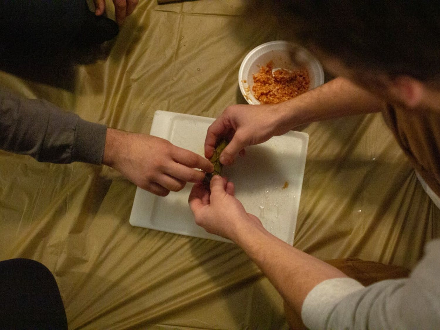 Ibrahim Ragab shows Adam Solomon how to properly roll  Mahshi, a of stuffed grape leaves dish, last Thursday night.