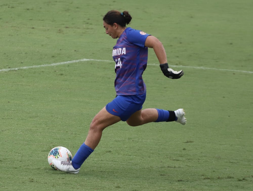 """<p dir=""""ltr"""">Susi Espinoza recorded three saves before allowing Texas A&amp;M to score its first goal. The Aggies recorded nine shots to UF's one in the opening half.</p>"""