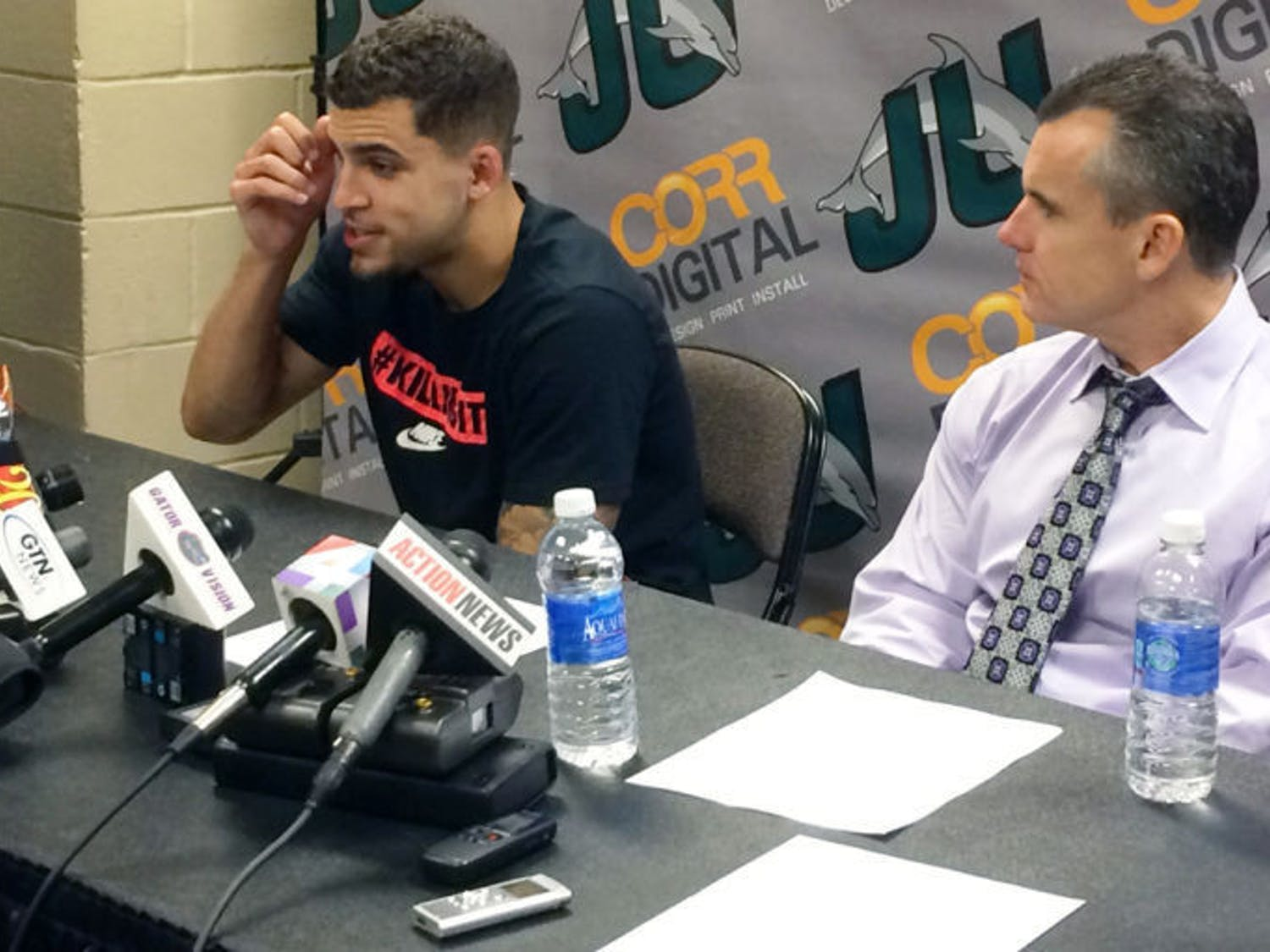 Scottie Wilbekin speaks at a press conference following Florida's 86-60 win against Jacksonville on Monday evening. Wilbekin apologized for actions leading to his five-game suspension to begin the season.