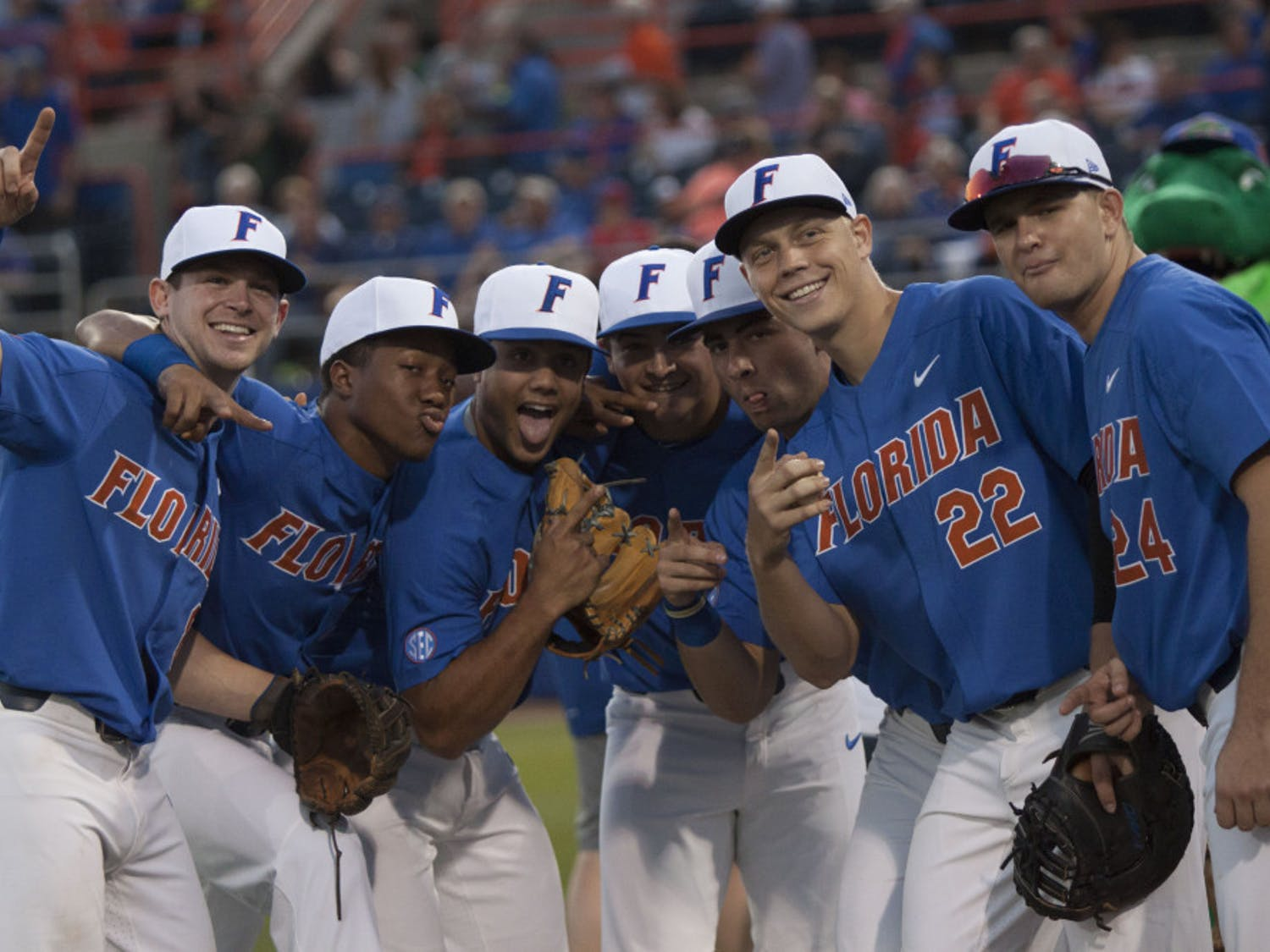 Florida's baseball team poses for a photo before its 2-0 win against Miami on Feb. 25, 2017, at McKethan Stadium.