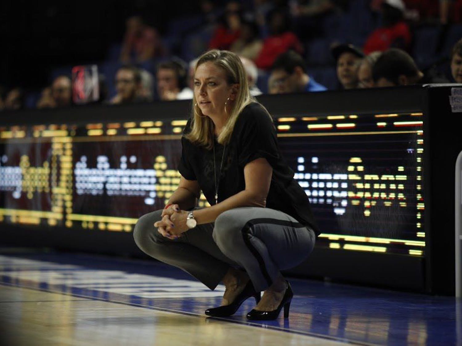 UF head coach Amanda Butler looks on during Florida's 84-75 loss to Ole Miss on Feb. 6, 2017, in the O'Connell Center.