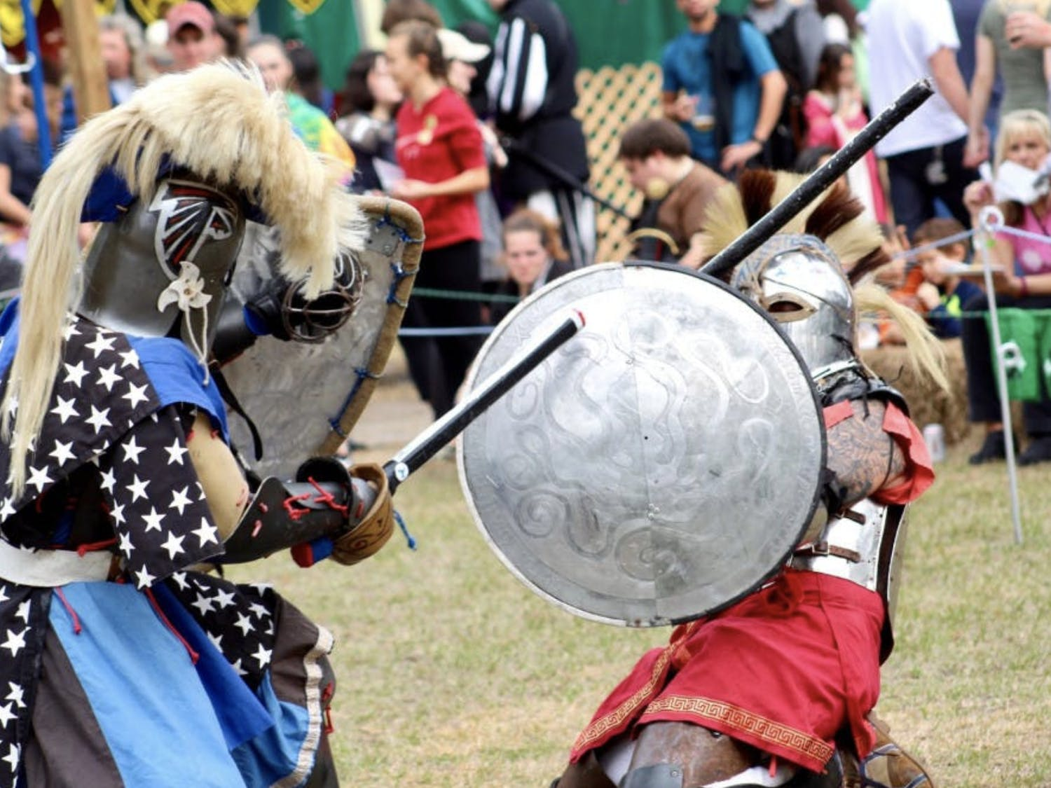 Knights joust at the 2018 Hoggetowne Medieval Faire.