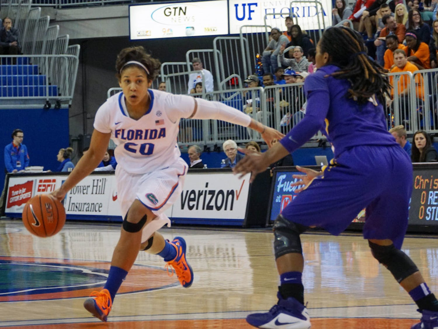 UF guard Simone Westbrook drives into the paintduring Florida's 53-45 win against LSU on Jan. 17, 2016, in the O'Connell Center.