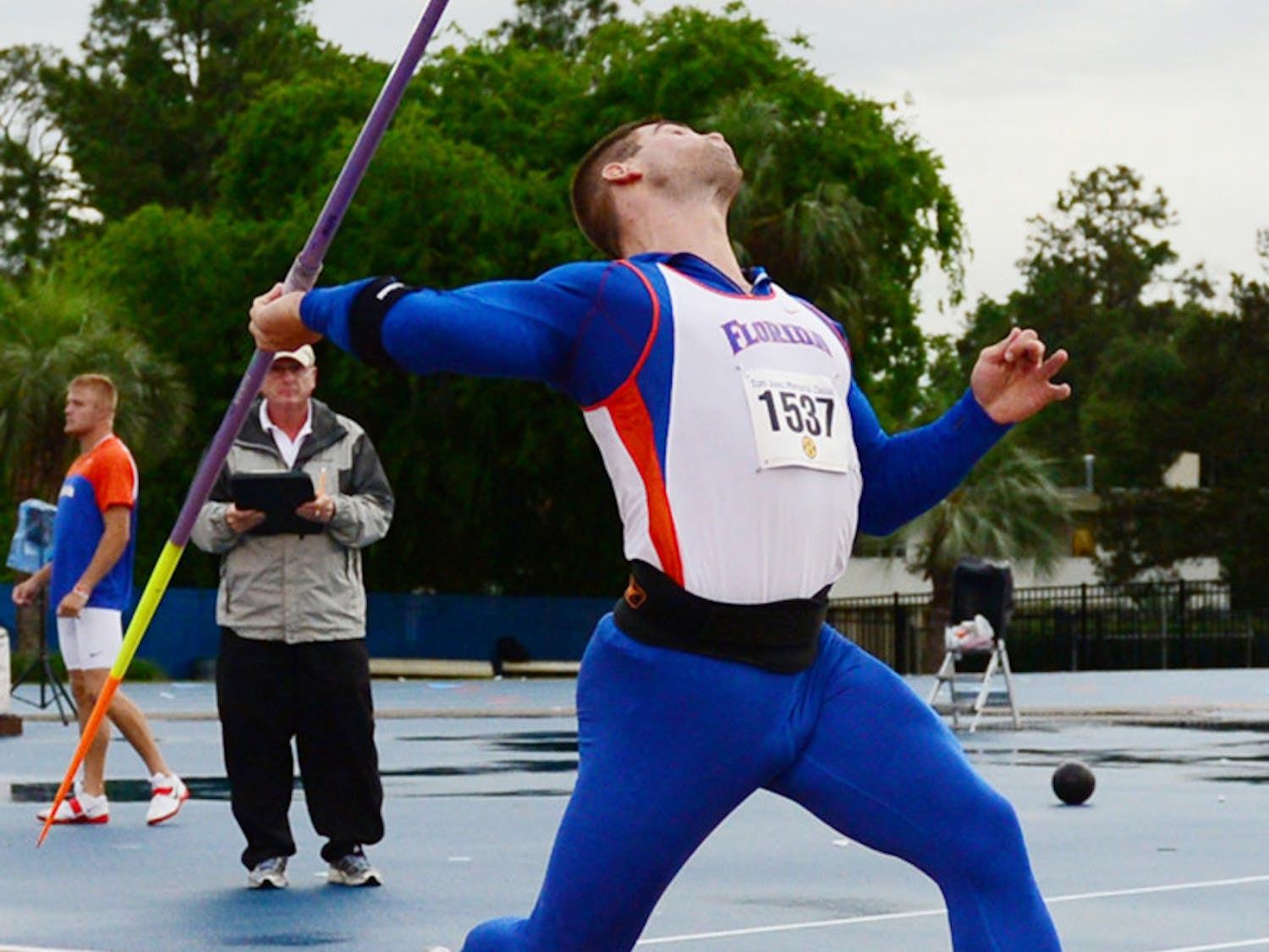Stipe Zunic throws during the Tom Jones Memorial Classic on April 21, 2012. He set a career-best shot-put mark of 18.57 meters on Saturday.