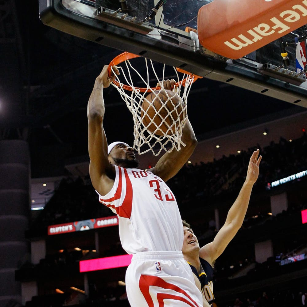 <p>Houston Rockets guard Corey Brewer (33) dunks the ball during the first half Houston's 110-98 win against the Indiana Pacers on Jan 19.</p>