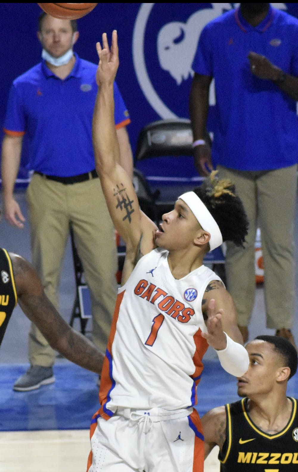 <p>Tre Mann released a floater in a March 4 game against a Missouri. Mann finished with 14 points against Virginia Tech Friday</p>