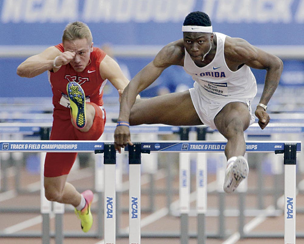 """<p class=""""cutlineGeneral"""">Grant Holloway competes in the 60-meter hurdles final at the 2017 NCAA Outdoor Championships in Eugene, Oregon.</p>"""