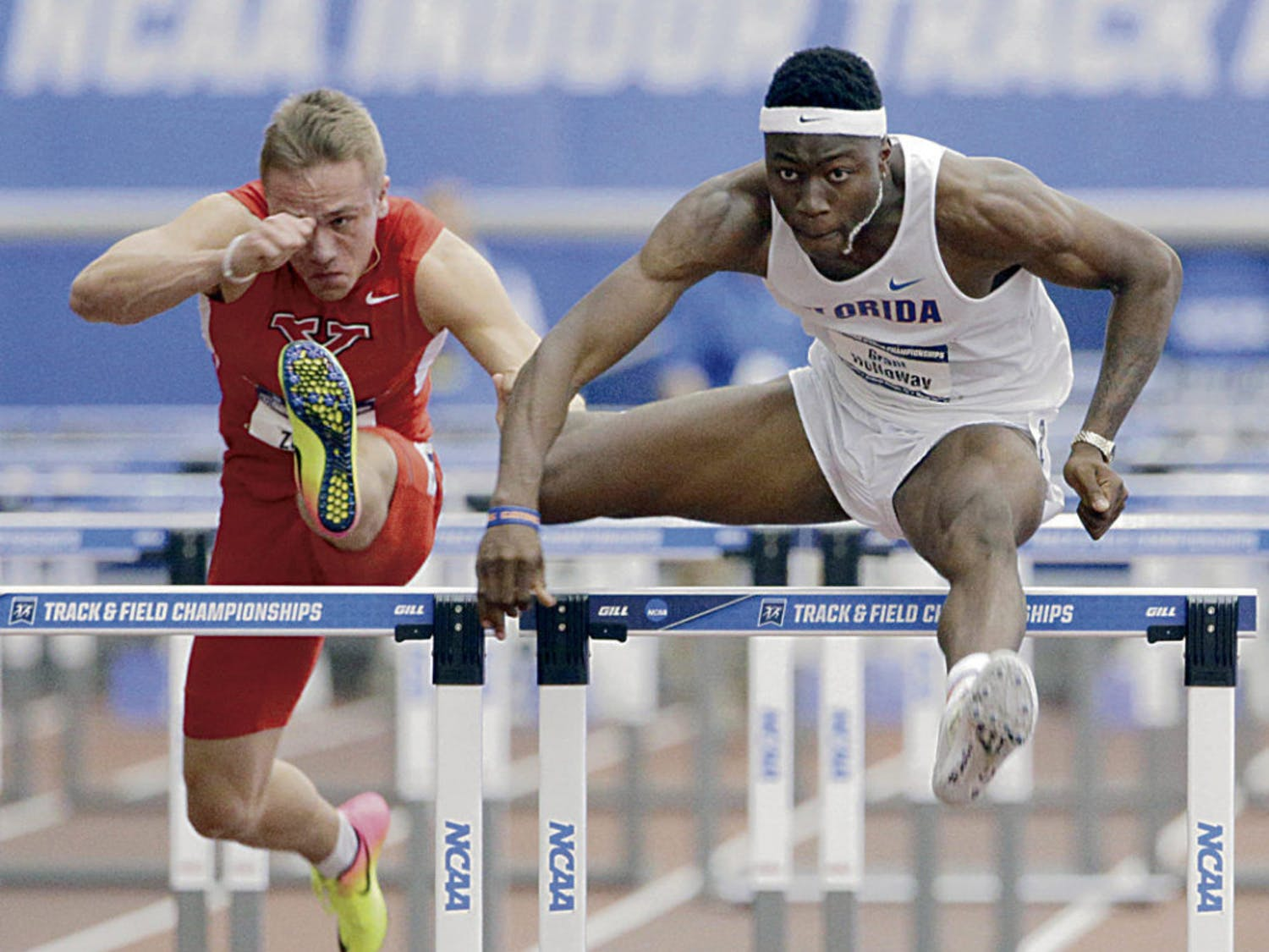 Grant Holloway competes in the 60-meter hurdles final at the 2017 NCAA Outdoor Championships in Eugene, Oregon.