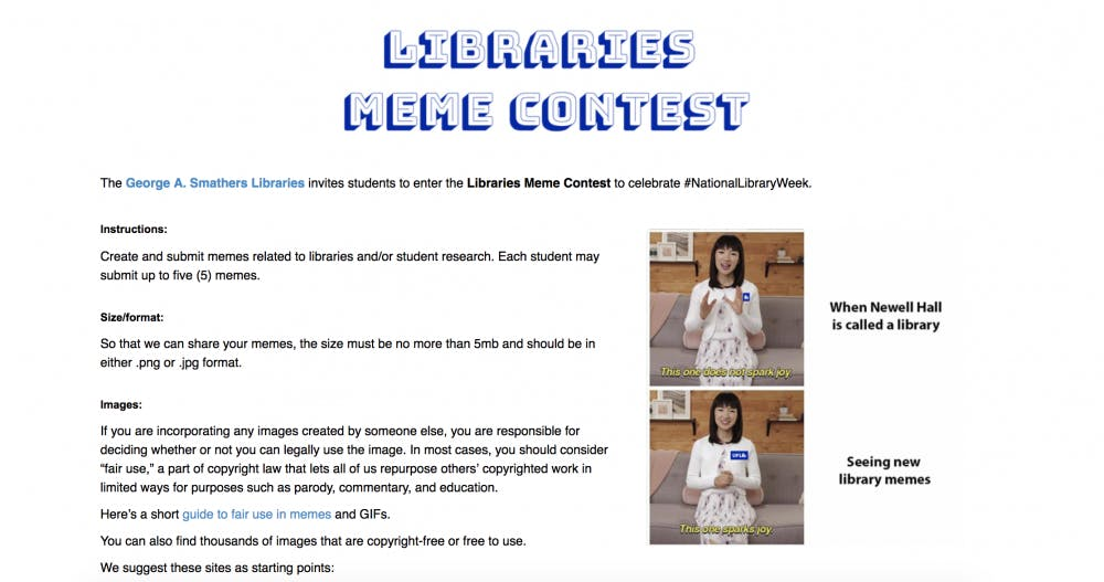 <p>George A. Smathers Libraries is holding the first annual meme contest in the Facebook group Swampy UF memes for top ten public teens for students to submit their best library-related content for a chance to win various prizes.</p>