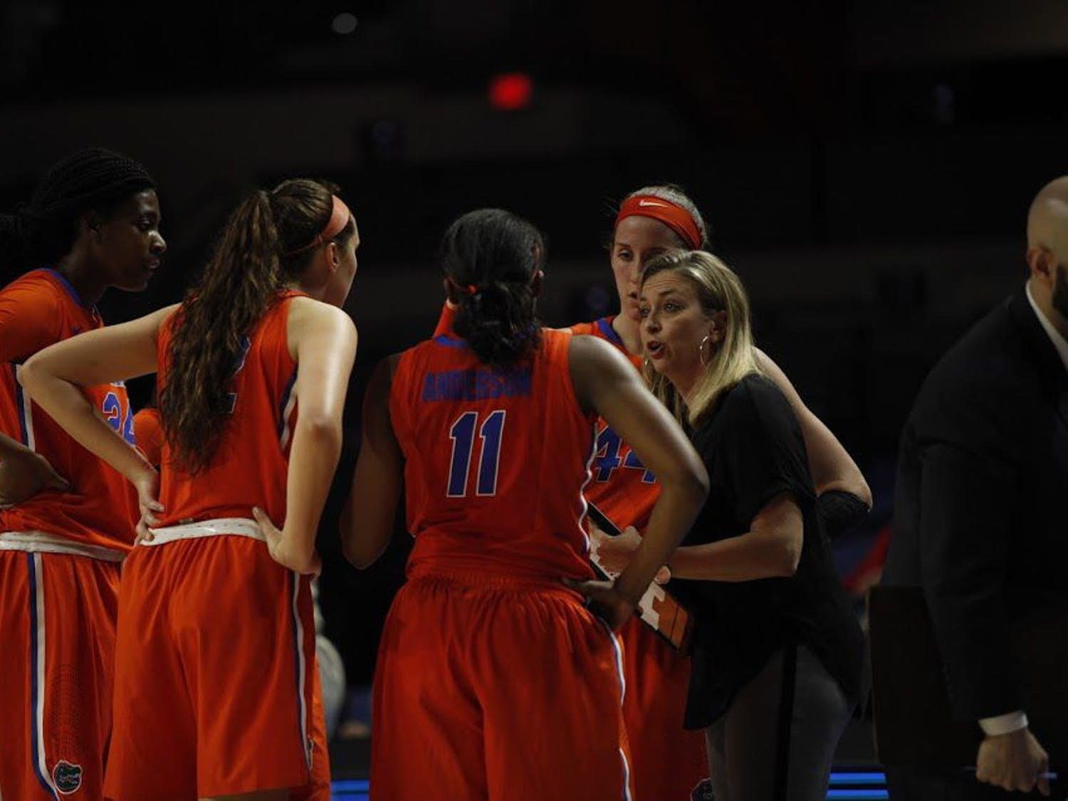 UF head coach Amanda Butler talks to her team during Florida's 84-75 loss to Ole Miss on Feb. 6, 2017, in the O'Connell Center.