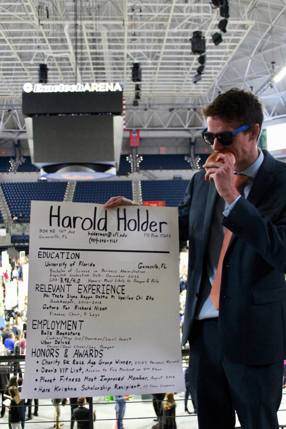 """<p><span>Kevin Kimbrough, a 23-year-old computer science engineering sixth year, played the character of """"Harold Holder"""" to cheer up students and employers at Career Showcase.</span></p>"""