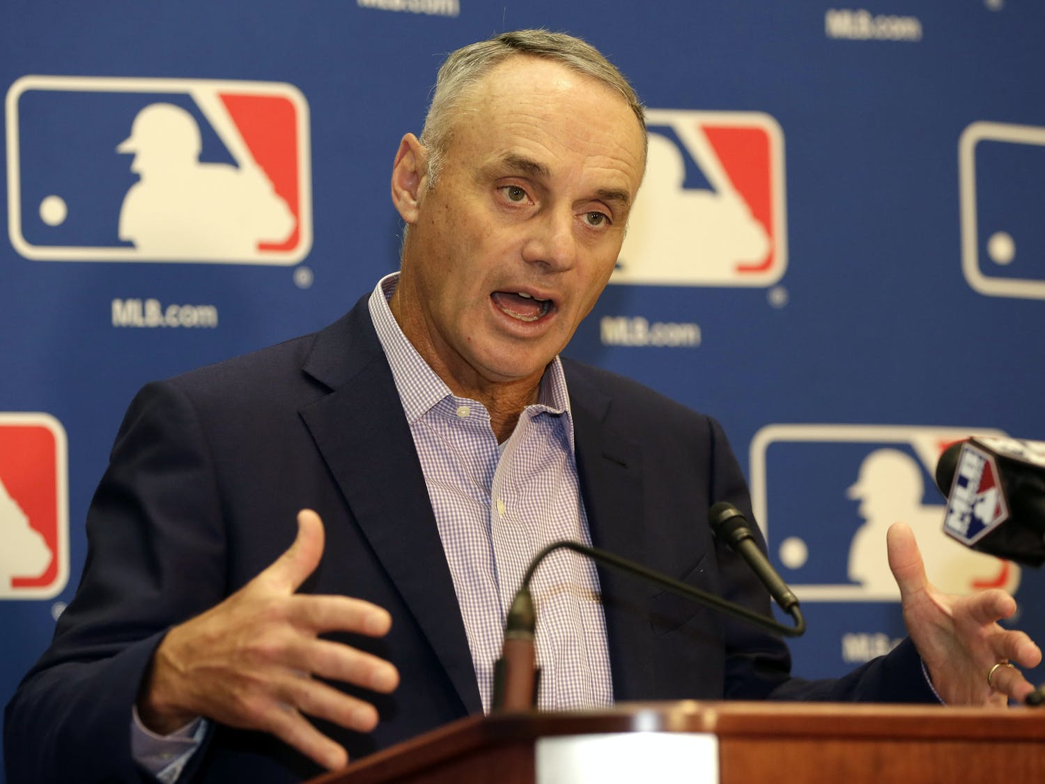 Major League Baseball Commissioner Rob Manfred speaks during a news conference following a meeting with MLB owners, Friday, Feb. 3, 2017, in Palm Beach, Fla. (AP Photo/Lynne Sladky)