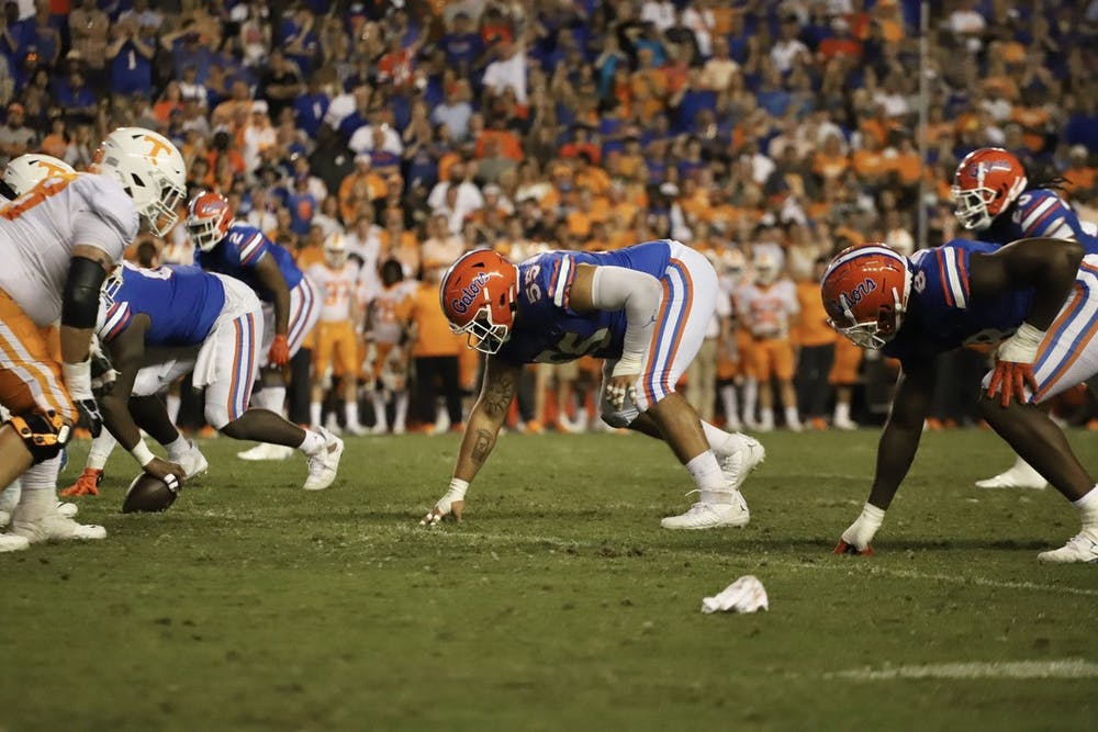 Florida's Antonio Valentino sets up for a play against Tennessee on Sept. 25, 2021.