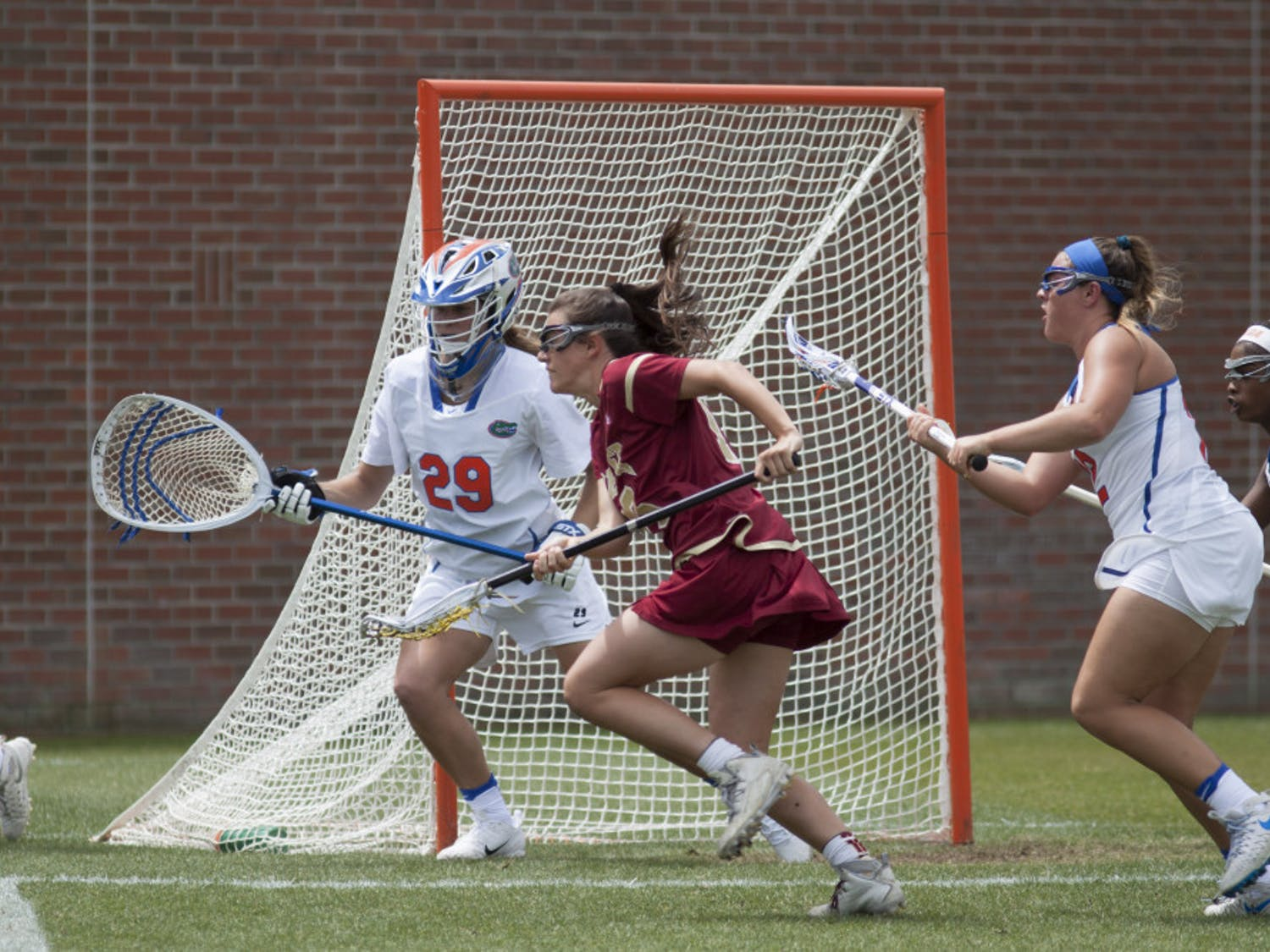 Florida goalkeeper Haley Hicklen (29) recorded a career-high 14 saves in UF's season-opening 16-9 win over Colorado on Sunday.